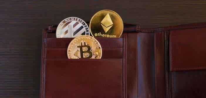 Verschiedene Krypto Münzen auf Geldbörse