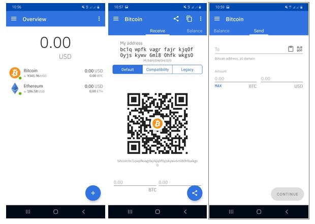 Beispiel Screenshots des Coinomi Wallets
