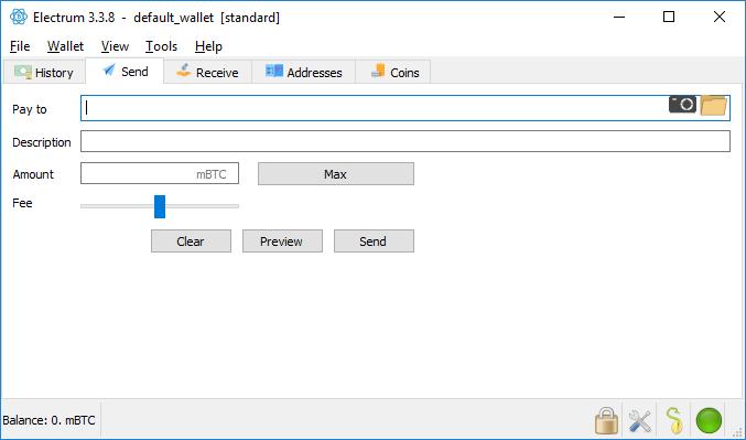 Beispiel Screenshot Electrum Wallet